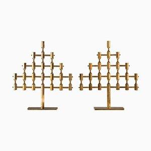 Portacandele grandi in ottone di Lars Bergsten per Gusums Bruk, Svezia, anni '70, set di 2