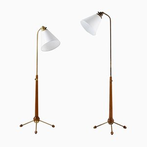 Lámparas de pie suecas Mid-Century de Hans Bergström para Ateljé Lyktan, años 40. Juego de 2