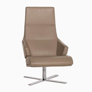 Olive Green Brown Leather Torn Armchair from Ligne Roset