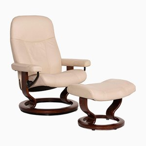 Cream Leather Consul Armchair & Stool by Kein Designer for Stressless, Set of 2