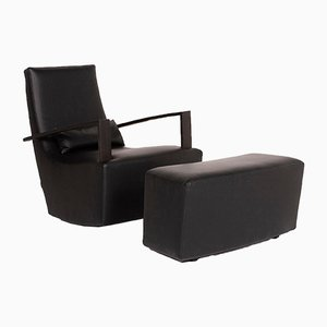 Black Leather Armchairs & Stool from Ligne Roset, Set of 2