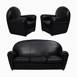 Black Leather Vanity Fair Sofa & Armchairs from Poltrona Frau, 2000s, Set of 3