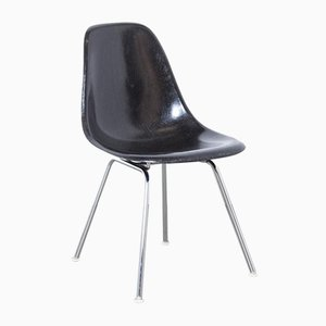 Black Fiberglass DSX Stacking Side Chair by Charles & Ray Eames for Herman Miller, 1950s