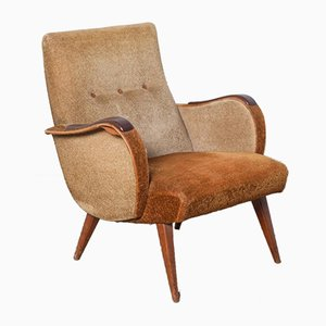 2-Tone Brown Rosewood Armchair, 1950s