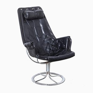 Black Leather Jetson Armchair by Bruno Mathsson for Dux, 1970s