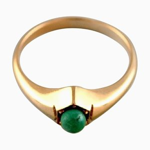 Vintage Ring in 14 Carat Gold with Green Malachite from Bræmer-Jensen, Denmark, 1950s