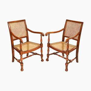 William and Mary Style Bergère Elbow Chairs, 1920s, Set of 2