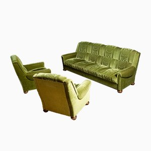 Vintage Green with Motif Velvet Sofa & Armchairs, Set of 3
