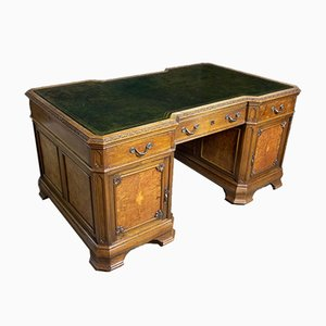English Brown Oak Desk, 1920s
