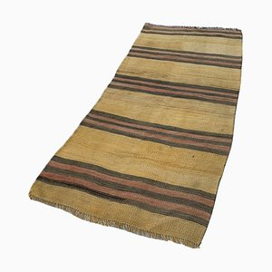 Vintage Turkish Traditional Wool Kilim Runner Rug