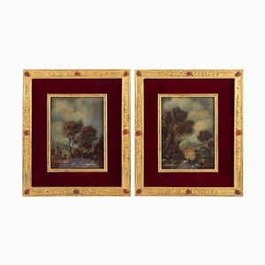 19th Century Napoleon III Paintings on Porcelain Gilded Bronze Frame, Set of 2
