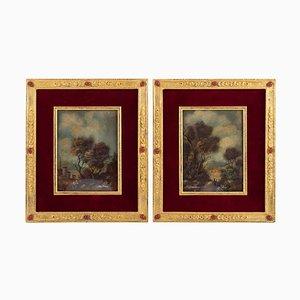 Napoleon III Gemälde aus 19. Jahrhundert auf Porzellan Rahmen aus vergoldeter Bronze, 2er Set