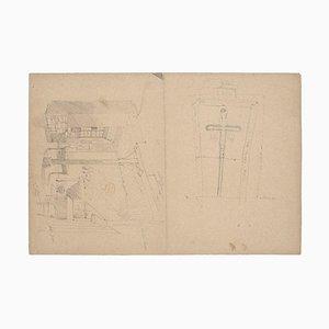 Interior of Kitchen Pencil Braunes Papier, 1880