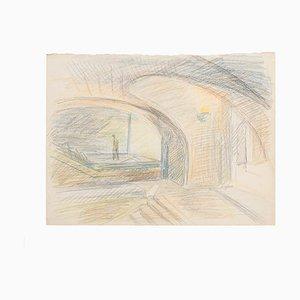 The Bridge Original Pastell auf Papier von R. Cazanove