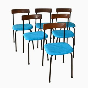 Swedish Metal & Teak Chairs from Bjärnums Stolfabrik, 1962, Set of 6