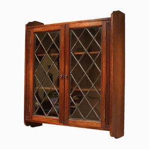 Antique Oak Glazed Wall Cabinet