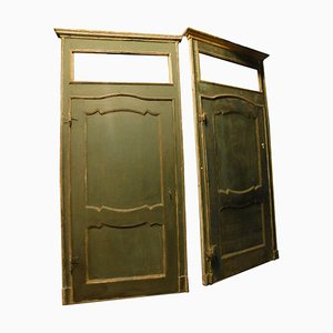 Antique Doors with Frame in Green and Yellow Lacquered, Italy, 1700s, Set of 4