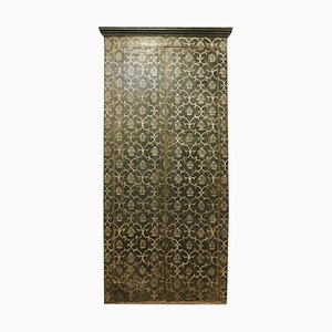 Antique Italian Lacquered Wall Placard Cabinet in Black White Weft, Florence, 1800s