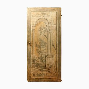 18th Century Italian Single Door Painted with Classic Landscape Theme