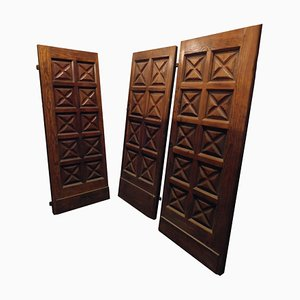 19th Century Italian Carved Wood Larch Doors, Set of 3
