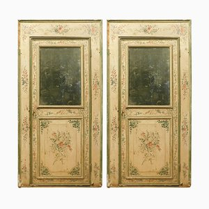 Antique Italian Richly Painted Colorful Flowers and Mirror Doors, 1700s, Set of 2