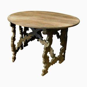 Runder italienischer Tisch aus Walnuss, teilbar in 2 Halbmonde