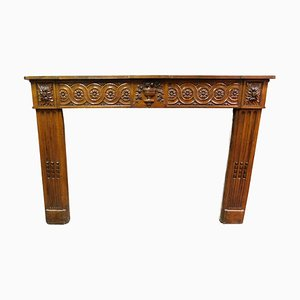 18th Century Italian Louis XVI Carved Walnut Fireplace Mantel