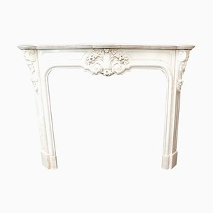 Antique French White Marble Mantle Fireplace with Carved Leaf Motifs, 1800s