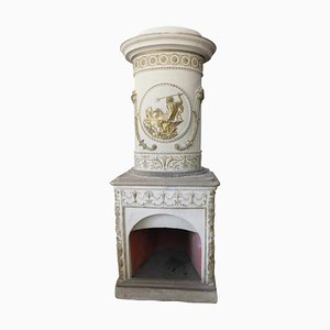 Antique Italian Ceramic White and Gold Stove with Carved Flue, 1700s