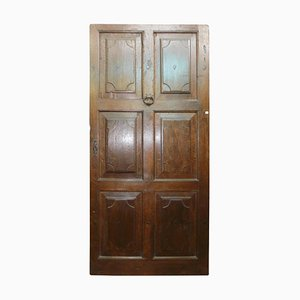18th Century Italian Brown Walnut Entrance Door