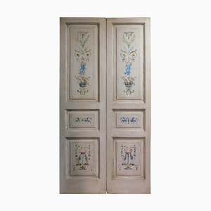 Late-18th Century Italian Double Door in White Painted with Allegories