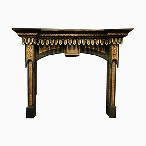Italian Neo-Gothic Fireplace Mantle in Black and Gold Lacquered Wood, 1800s