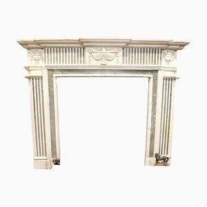 19th Century Italian White Carrara Marble Fireplace with Inlaid Verde Alpi