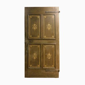 19th Century Italian Rustic Wooden Door with 4 Painted Panels