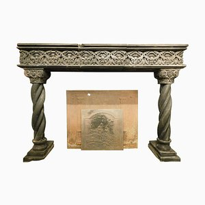 16th Century Italian Fireplace Mantel in Dark Slate Stone & Turned Columns