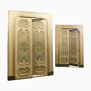 Antique Neapolitan Richly Painted Lacquered Doors, 1700s, Set of 2