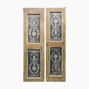 18th Century Italian Double-Leaf Doors in Hand-Painted Orange and Black, Set of 2