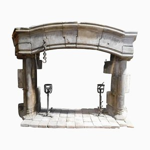 Large Antique French Gothic Stone Carved Curved Mantel Fireplace, 1300s