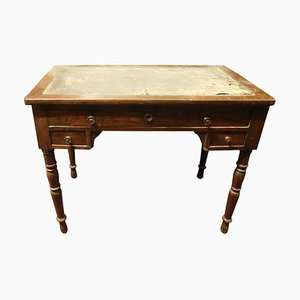 Small Antique Italian Walnut and Green Leather Desk