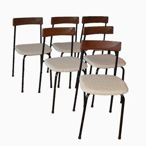 Schwedische Metall & Teakholz Stühle von Bjärnums Stolfabrik, 1962, 6er Set