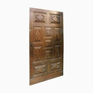 17th Century Italian Solid Brown Walnut Door with Carved Lozenges