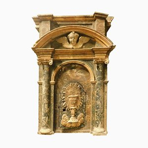 16th Century Italian Tabernacle in Lacquered and Gilded Wood