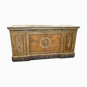 Antique Lacquered Sideboard with Faux Marble-Top & Internal Drawers, Italy, 1500s