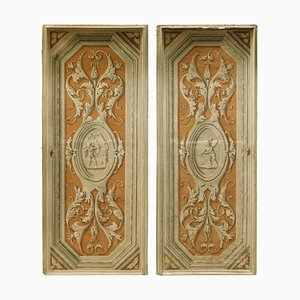 Antique Tuscan Doors Painted with Cherubs, Set of 2