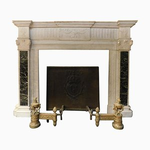 Antique Fireplace Mantel in White Carrara Marble with Verde Alpi Marble Inlays, 1700s