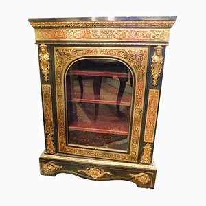 Antique Richly Decorated Showcase with Black & Gold Brass Inlays, Italy, 1850s