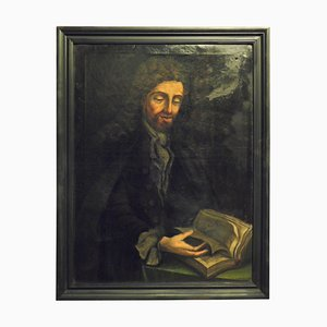 Antique Oil Painting on Canvas Character Tutor in Black Frame, Italy, 1700s
