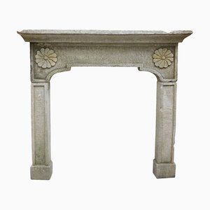 Antique Gray Artificial Stone Fireplace with Sunflowers, Italy, 1900s
