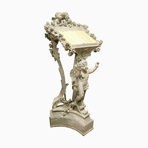 Old Plaster Lectern in Blue Carved with Cherubs, France, 1900s