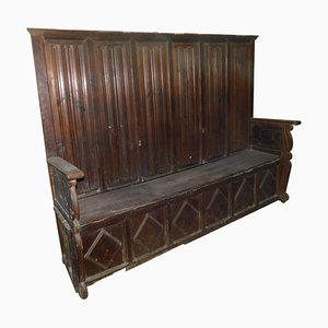 Antique High Back Bench in Red Larch Wood & Hand-Carved with Lozenges, Italy, 1500s